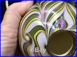 Vtg VANDERMARK Iridescent Pulled Feather Swirl Art Glass Egg Lights Relist
