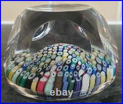 WHITEFRIARS MILLEFIORI FACETED PAPERWEIGHT with WHITE MONK 1977 CANE mark