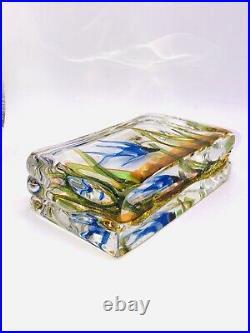 WONDERFUL MURANO VINTAGE ART GLASS AQUARIUM BLOCK CENEDESE 1940s STUNNING