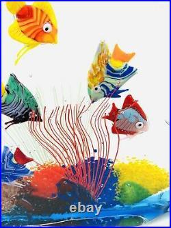 WONDERFUL VINTAGE MURANO ITALIAN ART GLASS FISH AQUARIUM HEAVY With GOLD LABEL EUC